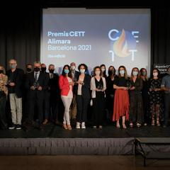 CETT award night attendees standing on stage at the Barcelona event.