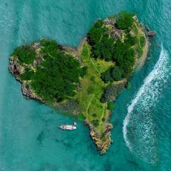 heart shaped island surrounded by sea